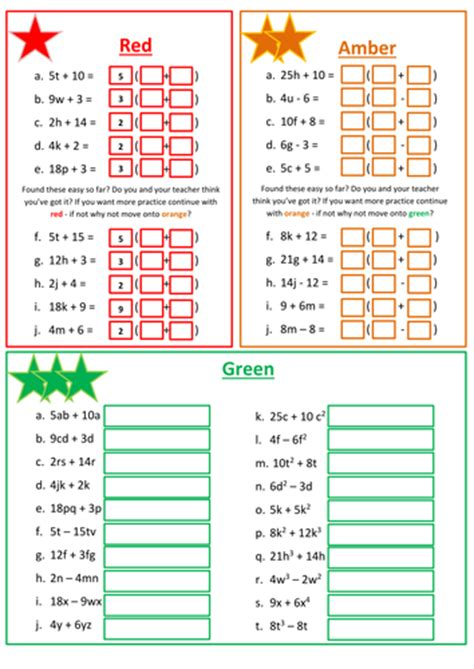factorising linear expressions worksheet teaching resources