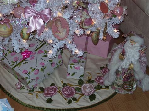 pink and white xmas tree skirt a southern pink and white
