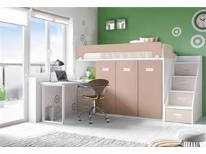 Lit Mi Hauteur Avec Rangement : lit mezzanine pour enfant mi hauteur avec bureau ~ Premium-room.com Idées de Décoration