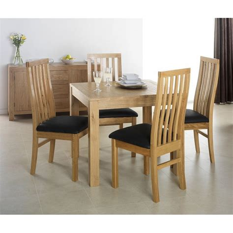 cuba oak square oak dining table with 4 chairs