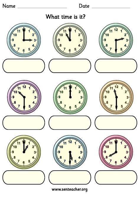 worksheet containing 9 analogue clocks showing o clock or