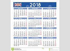 2018 Squared Calendar English UK Week Starts On Monday