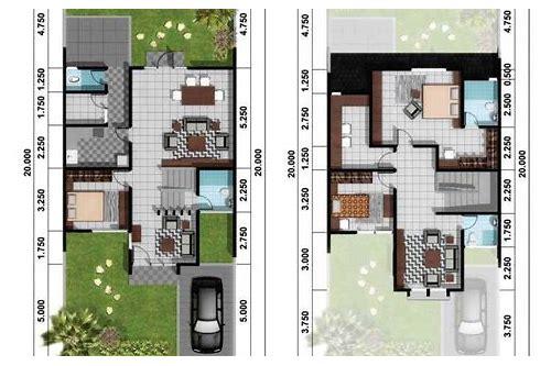 baixar gambar denah rumah tipe 70 satu lantai