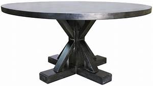 X Base Zinc Top Dining Table Mortise Tenon