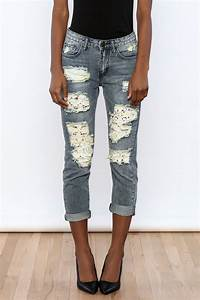 Machine Jeans Lace Cut Off Boyfriend Jeans from Miami by Cattiva Boutique u2014 Shoptiques