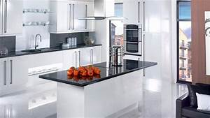 17 white and simple high gloss kitchen designs home With best brand of paint for kitchen cabinets with glossy wall art