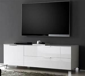 Meuble Tv Petit : meuble tv petit modele sola blanc ~ Teatrodelosmanantiales.com Idées de Décoration