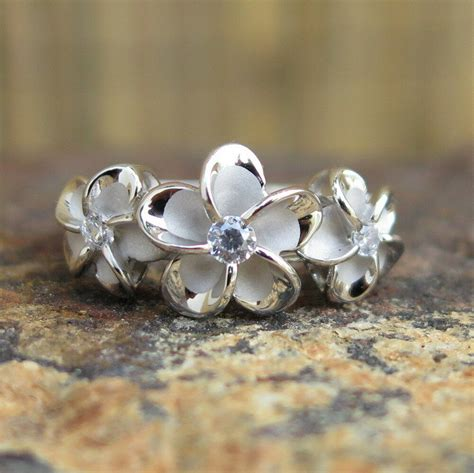 hawaiian sterling silver three plumeria flowers cz wedding ring band 10mm sr2078 ebay