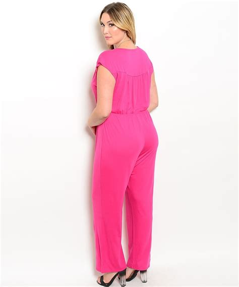 plus size jumpsuit us xl 2x 3x pink cap sleeves one