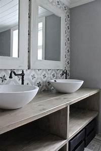 salle de bain retro rustique carrelage graphiques esprit With carrelage salle de bain vintage