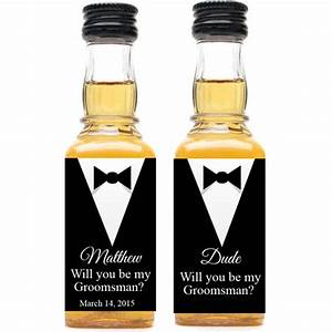 tuxedo groomsmen personalized mini liquor bottle labels With customized alcohol bottle labels