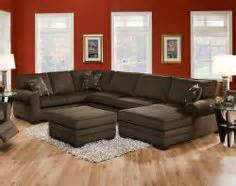 this deluxe brown three piece sectional is warm and cozy With chenille fabric oversized sectional sofa with matching ottoman