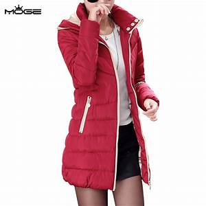 MOGE black long winter jacket women warm fashion winter ...