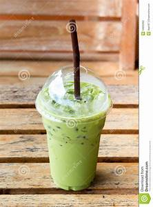 Iced Milk Green Tea In A Plastic Cup Stock Photography ...