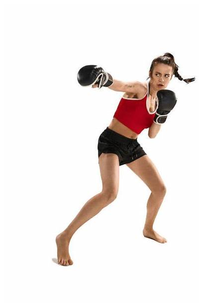 Woman Boxing Gloves Background Isolated Silhouette Training
