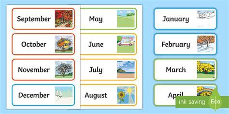 month   year word cards teacher