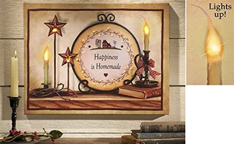 country primitive led lighted canvas wall battery