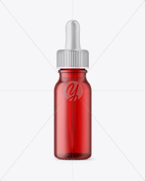 Medical vial with eyedropper isolated. 15ml Frosted Red Glass Dropper Bottle in Bottle Mockups on ...
