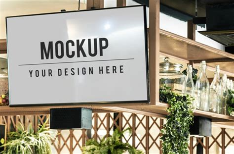 You can now use this square photo frame mockup to showcase your work in a photorealistic look. Tv screen mockup in a restaurant PSD file | Free Download