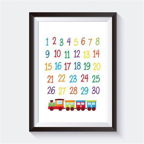 Available in any file format including obj, max, 3ds. Train Numbers Nursery Wall Art Decor   Kids Nursery Art