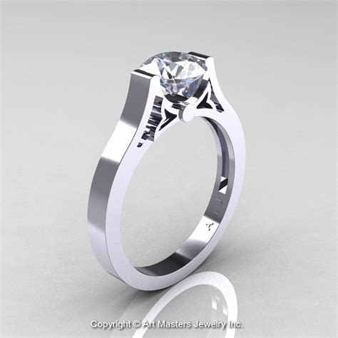modern 14k white gold luxurious and simple engagement ring or wedding ring with a 1 0 ct white