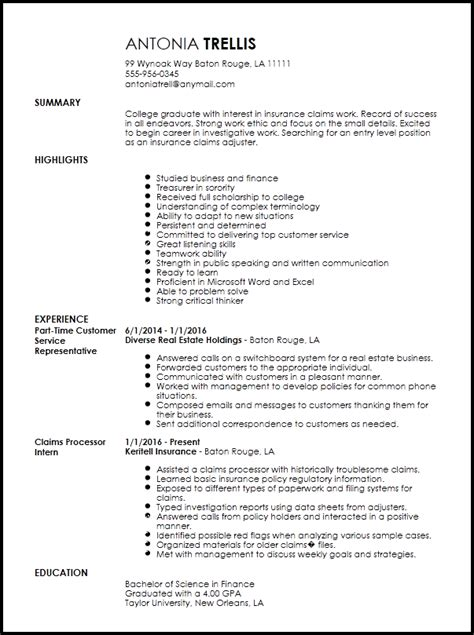 Resume Exle For College Student by Free Entry Level Insurance Claims Adjuster Resume Template