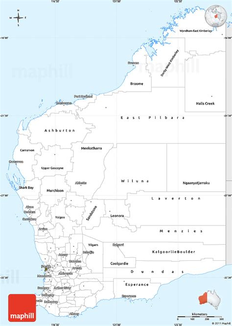 silver style simple map  western australia