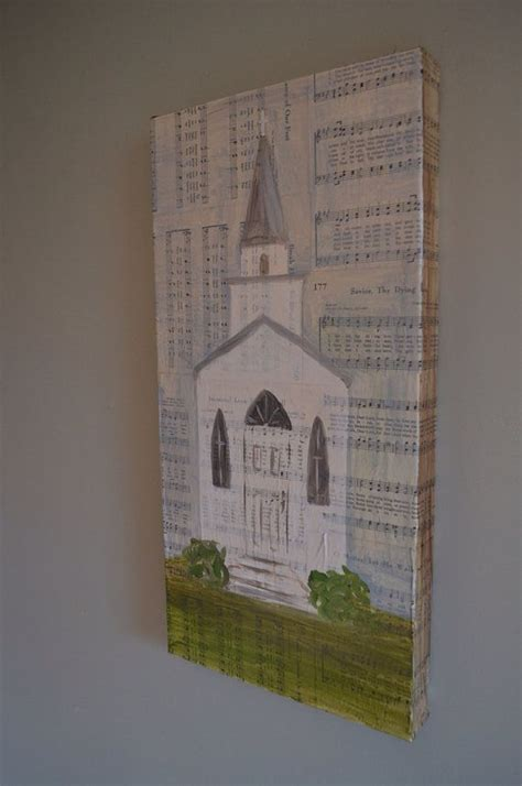 church  steeple white tall oil painting  vintage