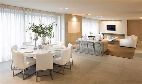 esszimmer beige all white dining table and chairs