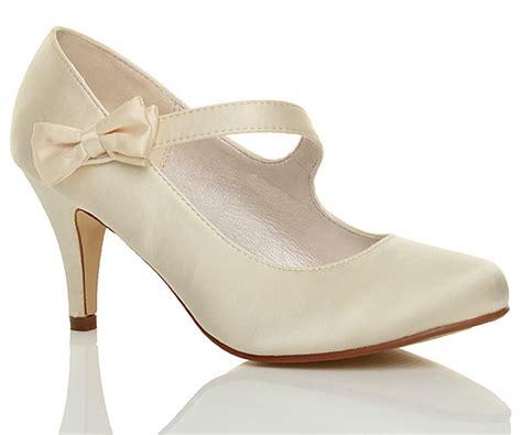 Womens Ladies Mid High Heel Strap Bow Wedding Bridal