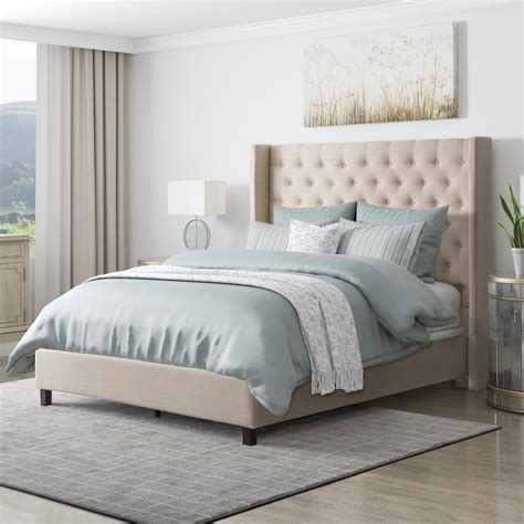 corliving fairfield beige tufted fabric king bed