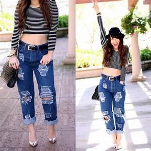 K T Reed - Leviu0026#39;su00ae Diy Distressed Husband / Boyfriend Jeans American Apparel Stripes Crop Top ...