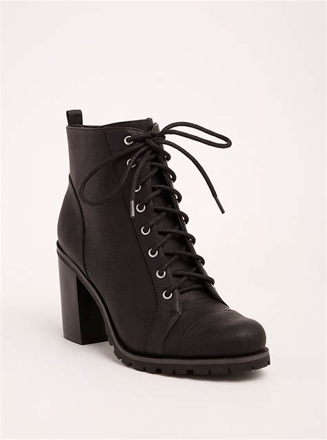 lace heel combat boots wide width size torrid