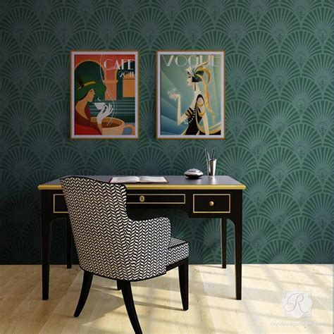 Gatsby Glam Art Deco Wall Stencil  Royal Design Studio