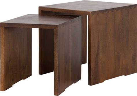 This coffee table is finely constructed from quality mango wood and supported by splayed metal legs. Anderson Set of 2 Nesting Tables, Mango Wood and Brass   Nesting tables, Table, Coffee table design