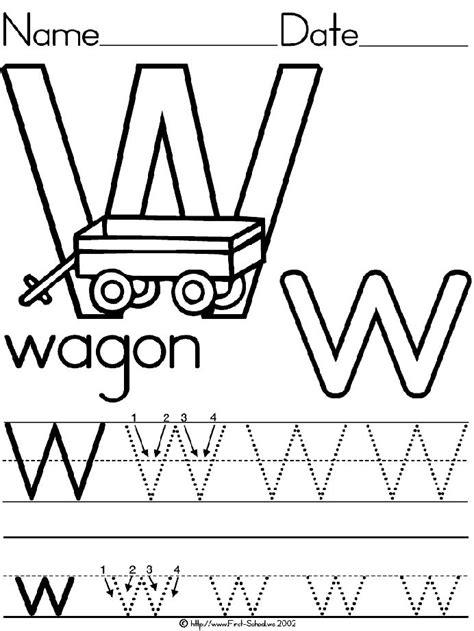 alphabet letter w wagon standard block manuscript handwriting practice worksheet preschool