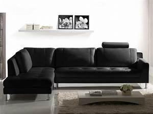 Canapé D Angle Xl : canap d 39 angle en cuir xl noir angle gauche olivia ~ Teatrodelosmanantiales.com Idées de Décoration