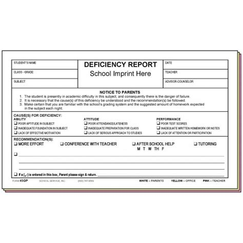45gp deficiency report parent s signature w school