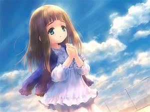 Cute Anime Girl   Little Girl   Praying   Brown Hair ...