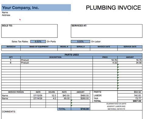 plumbing invoice template  invoice templates