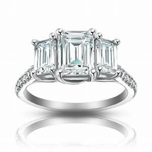 210 Ct Ladies Emerald Cut Diamond Engagement Ring