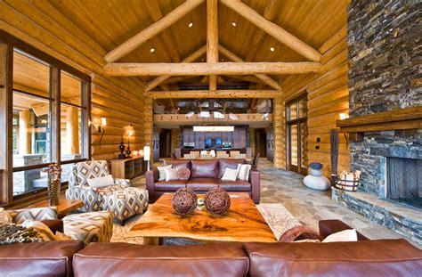 Ranch log home   Rustic   Living Room   by Sitka Log Homes