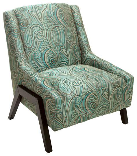 bonita green blue swirl pattern fabric accent chair