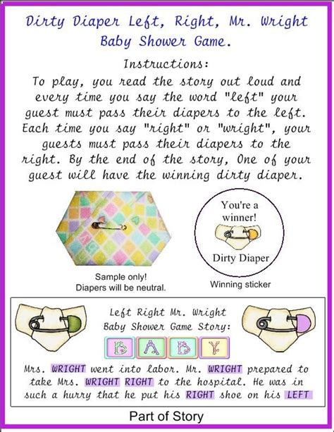 Left Right Story For Baby Shower by Baby Shower Left Right Mr Wright Pass