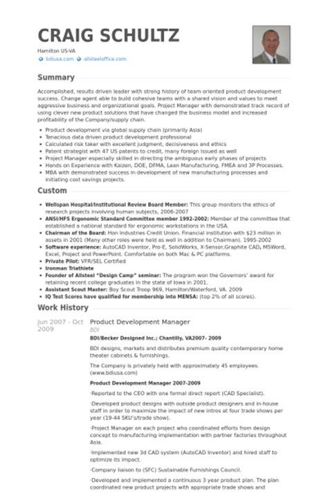 6 Product Development Manager CV Example - VisualCV Resume ...