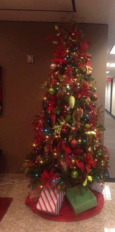 multi colored light christmas tree   traditional