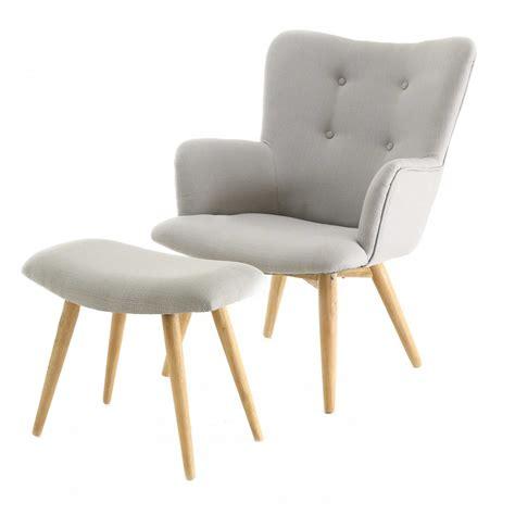 fauteuil repose pieds en polyester style scandinave gris