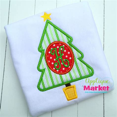 applique market tree oval monogram