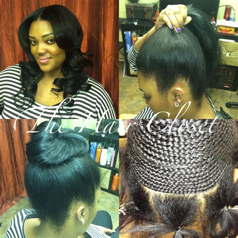 Hairstyles For Sew In Tracks by Ponytail Sew In Track And Weave Ponytail