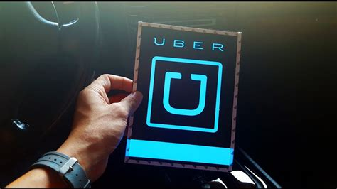Blue Glowing Uber Sign